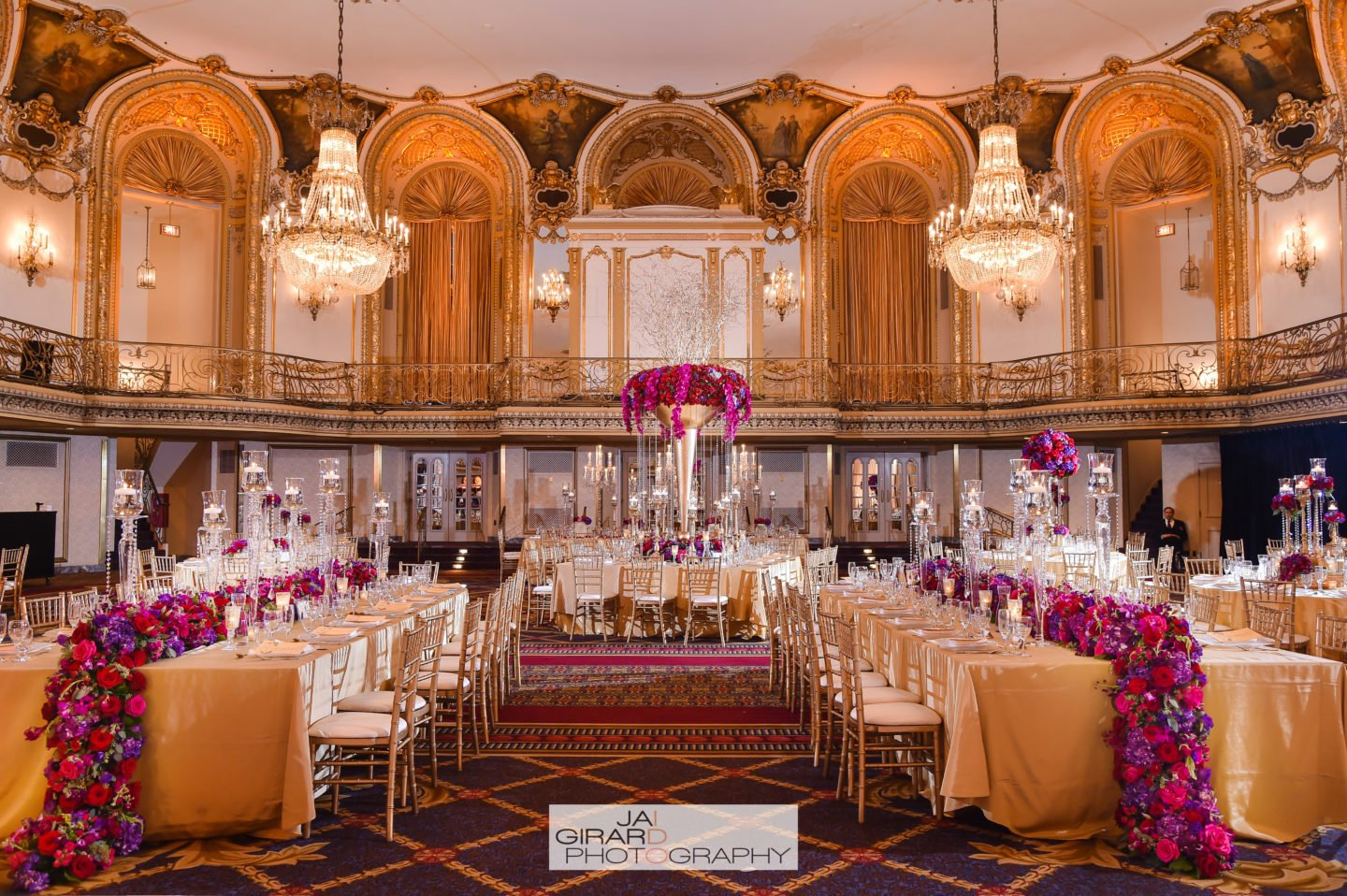 decorations indian reception decoration luxury event weddings flowers table centerpieces grand chicago hilton yannidesignstudio floral tables venues hotel drake ballroom